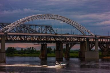 Ночной борский мост вид с Волги