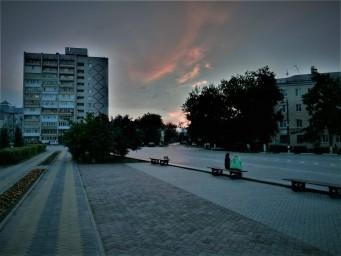 Закат в центре города Бор