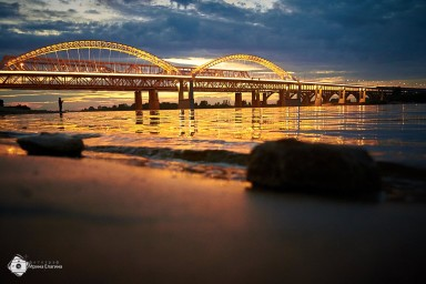 Новый борский мост на закате
