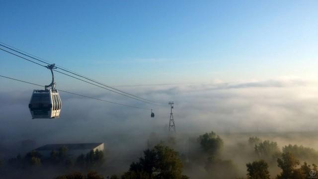 Борская канатная дорога в тумане
