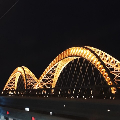 Новый борский мост ночью
