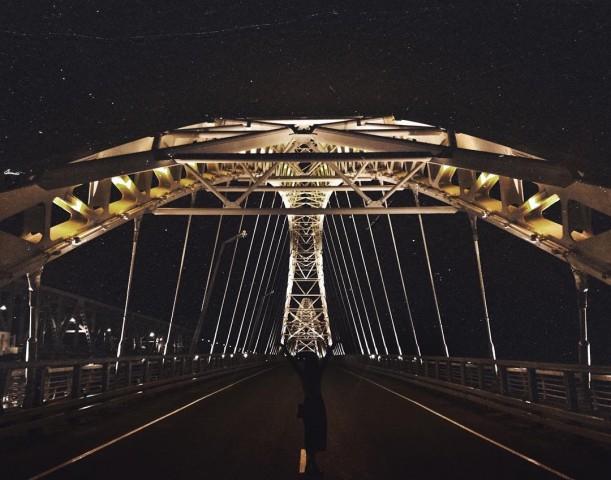 Новый борский мост в ночи